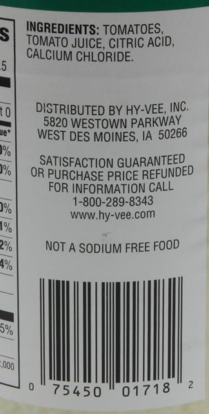 Hy-Vee No Salt Added Diced Tomatoes