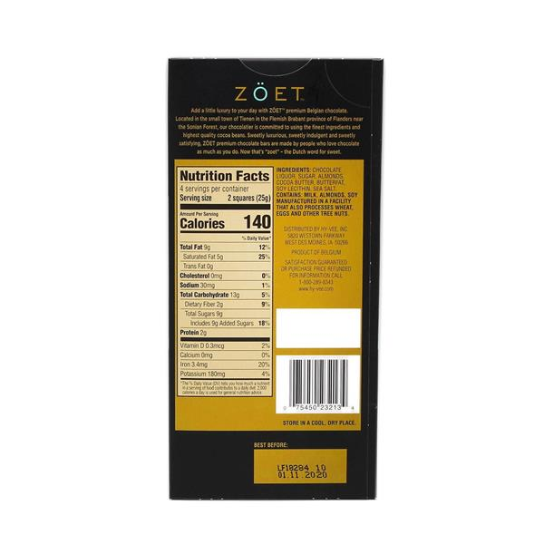 Zoet Dark Chocolate with Almonds & Sea Salt 57% Cacao